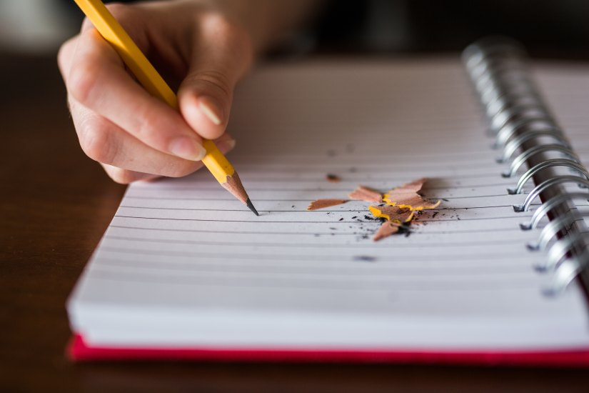 red notebook writing